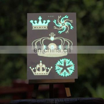 Hot sale 2016 NEW fashion glow in the dark temporary tattoo custom