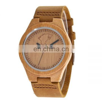Fashion high quality leather watch japanese movement wood watch bamboo watch