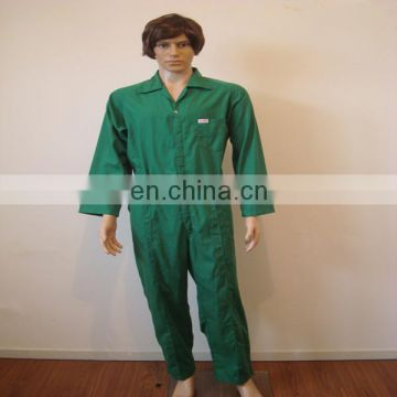 Apparel workwear new design plus size 80% polyester 20% cotton 190gsm green zipper and button safety coverall with multi pockets