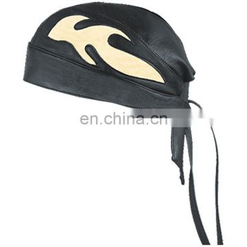 HMB-901H3 LEATHER FLAMES SKULL CAP DURAG HEAD WRAP BANDANA SKULLCAP HATS SCARF