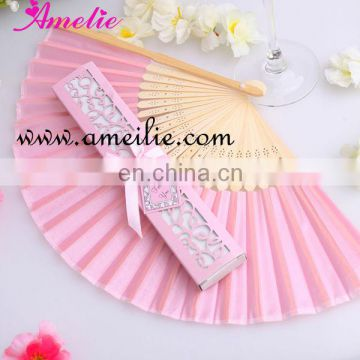 AF151 Pink Color With Gift Box Folding Hand Silk Fan For Wedding