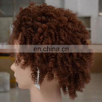 cheap 100% human hair wig 10inch afro curl indian remy machine made hair wig blonde