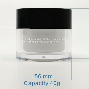 30g Plastic Cosmetic Double Wall Cream Jar For Facial Cream Container