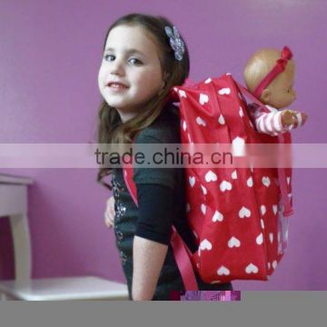 cute travel doll backpack/baby doll backpack