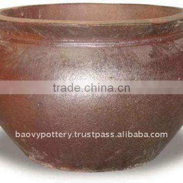 AQB Large black clay pot- Tall dark clay pot- Giant Outdoor Pots