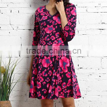 New Arrivals Women Dresses With Navy And Fuchsia Floral Notch Neck Dress Women Casual Dress Women Clothes GD90426-49