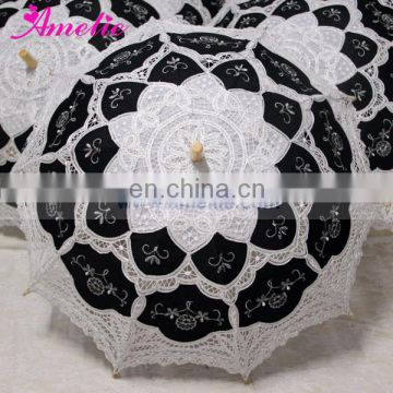 White and Black Gothic Style Amelie Wedding Umbrella Parasol