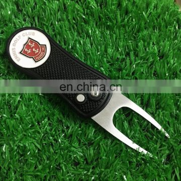In stock black automatic pitch fork with embossed ball marker