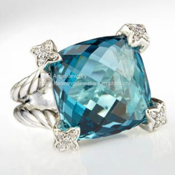 Sterling Silver DY Inspired 15mm Blue Topaz Cushion on Point Ring