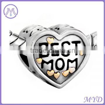 hot sale Mother and Daughter 925 sterling silver best mom heart bead for European charms bracelet