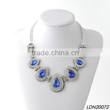 Romantic sparkly blue rhinestone necklaces with matching earrings