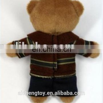 Factory custom cute mini teddybear with clothing keychain plush toy of kids