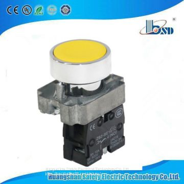 Spring Return start Push button switch Yellow  flat  head button switch