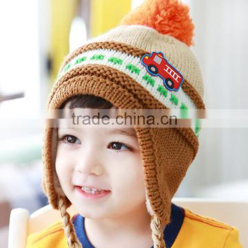 65a479b5801675 Newest Pom Pom Pigtail Tassels Automobile Applique Warm Fleece Inside Baby Kids  Knitted Earflap Hat of Kids Hat from China Suppliers - 103656081