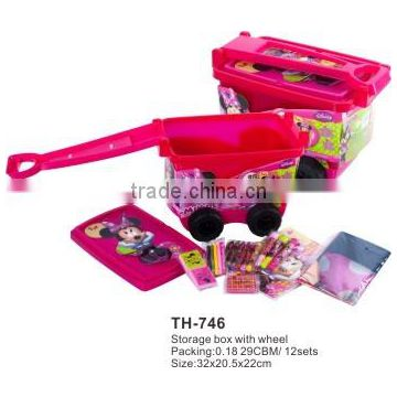 Plastic storage boxes with wheels and lid for kid's toys