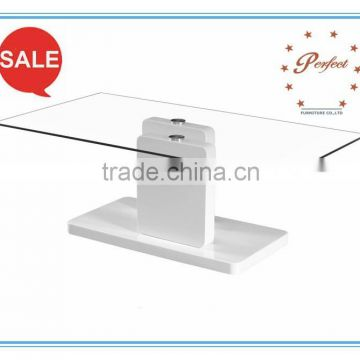 Fashion white gloss leg and base Coffee table with tempered glass top for living room PCT14131