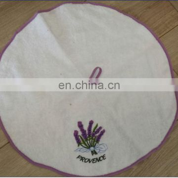 Round white embroidery terry kitchen towel 100% cotton