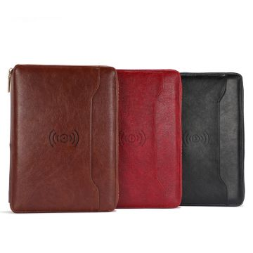 Business Loose-leaf Zipper Bag Notebook Tool A5 Multifunctional Notebook Leather Manager Clip