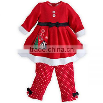2015 wholesale Santa Claus striped pants children Christmas baby costume Infant Girl Clothing Set