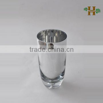Silver Plating Glass Vase With Bubble Bottom Handmade Cone Shaped