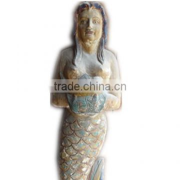 Antique Wooden Carving Mermaid Statuesreligious Sculptures Of Wood
