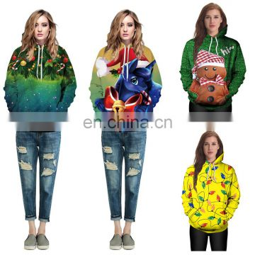 Unisex Printed Pullover Ugly Christmas Hooded Sweatshirt Pullover Hoodie with Big Pockets Jumpers