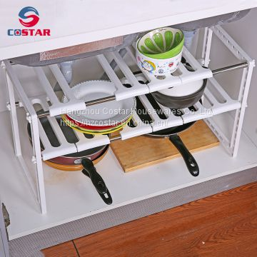 2 Tier Expandable Adjustable Metal Under Sink Shelf Rack And Foldable Storage  Kitchen Utensil Organizer Shelf ...