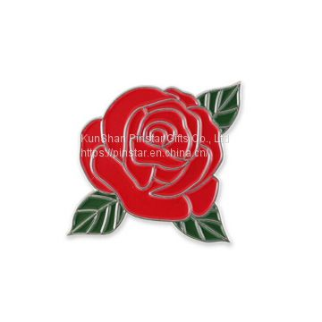 Red Rose Flower With Green Leaves Enamel Lapel Pin