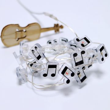 music notes battery operated RGB warm white copper string light manufacturer wholesale customized packaging fairy light