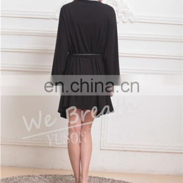 Ladies Bamboo Long Sleeves Black Nightwear Robe