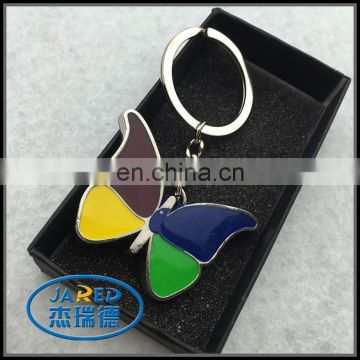 Colorful painted butterfly metal keychain custom metal keyring