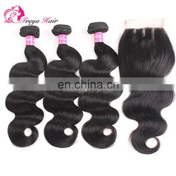 Freya hair cheap virgin brazilian human hair 4*4 lace closure with 3 bundles