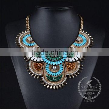high quality vintage colorful rhinestone chunky statement necklace tin alloy fashion women pendant necklace 6390154