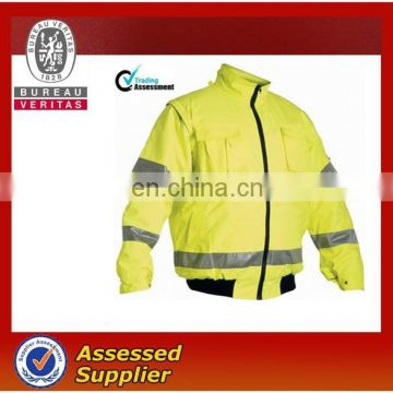 Yellow winter safety work jacket with reflective tape