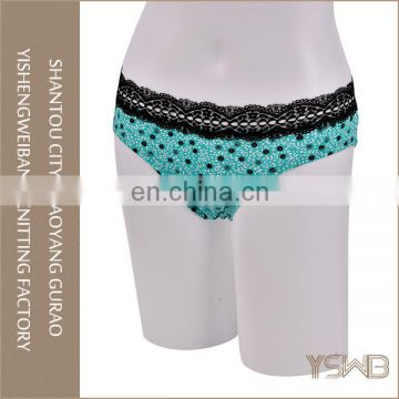 Green beautiful flower printing panty comfortable soft young girls underwear