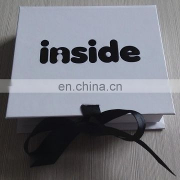 On sale black Tie , white Packing book shape Box for baby clothes