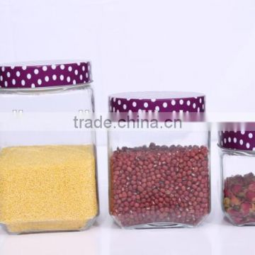 Set 4 Clear Square Empty Glass Storage Jars with Dot Metal Lid