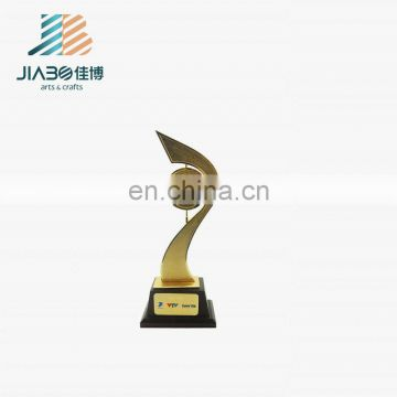 3D ribbon with round plate custom gold plated trophy