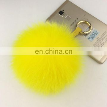 Fox Fur Pom Pom Keychain Bag Purse Charm Gold Ring Fluffy Fur Ball