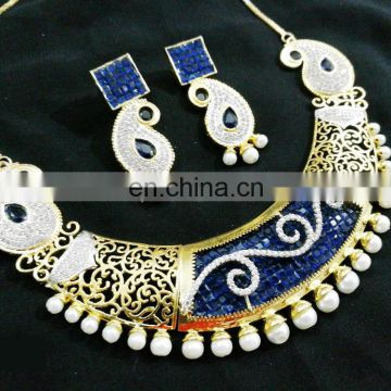 Dashing Blue Color Stone Gold Plated American Diamond Necklace Earrings Set