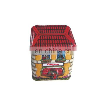 Wholesale Small Square House-Shaped Cookie Chocolate Candy Tin Box