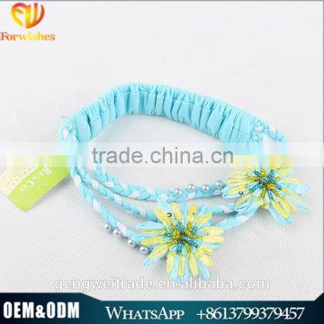 wholesale stock items children hairband blue flower girls hair accessories