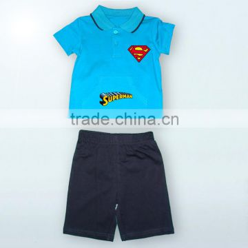 Fashion 100% cotton Top and Pants wholesale baby clothes Polo Band Baby Suit
