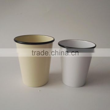 330ml Tea Coffee Milk Metal Enamel Coated Cup with Rim Steel Mug Glass