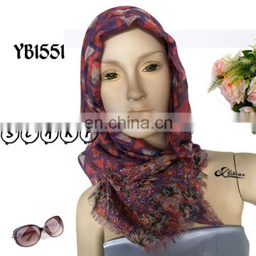 2017 Zhejiang Provence top fashion double printing paper printing polyester scarf factory hot sell Malaysia hijab