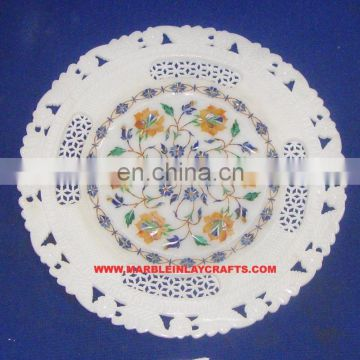 Intricate Inlay design Marble Plate