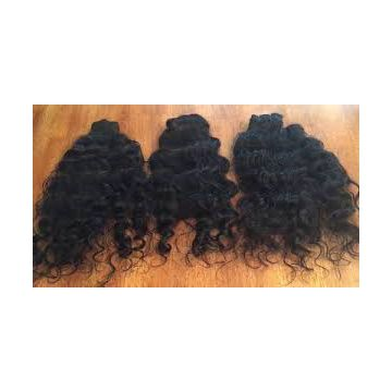 Large Stock Natural Black Indian Curly Human Hair Thick