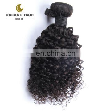 Factory price natural unprocessed curly tangle free no shed hair weaving