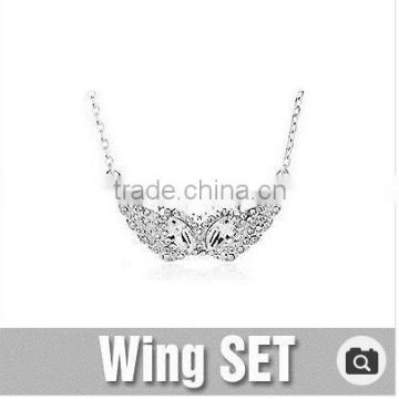 Wing SET Platinum / 18 K gold plated / wing shape / Crystal / Bracelets / Necklaces / case / Jewelry