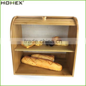 Bamboo large capacity bread storage/ bread box Homex-BSCI